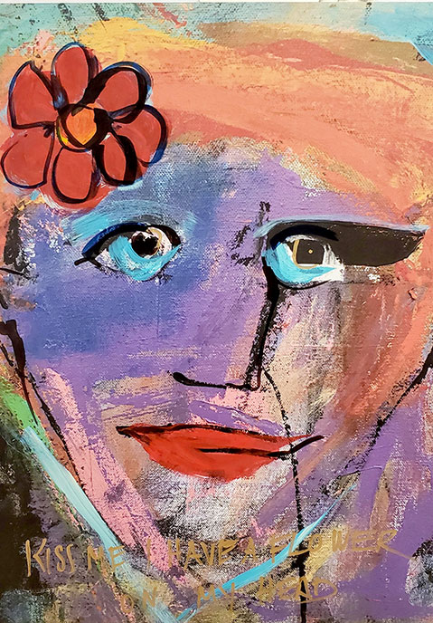 Kiss Me I have a Flower on my Head 2 /  by Herson - Israeli Artist